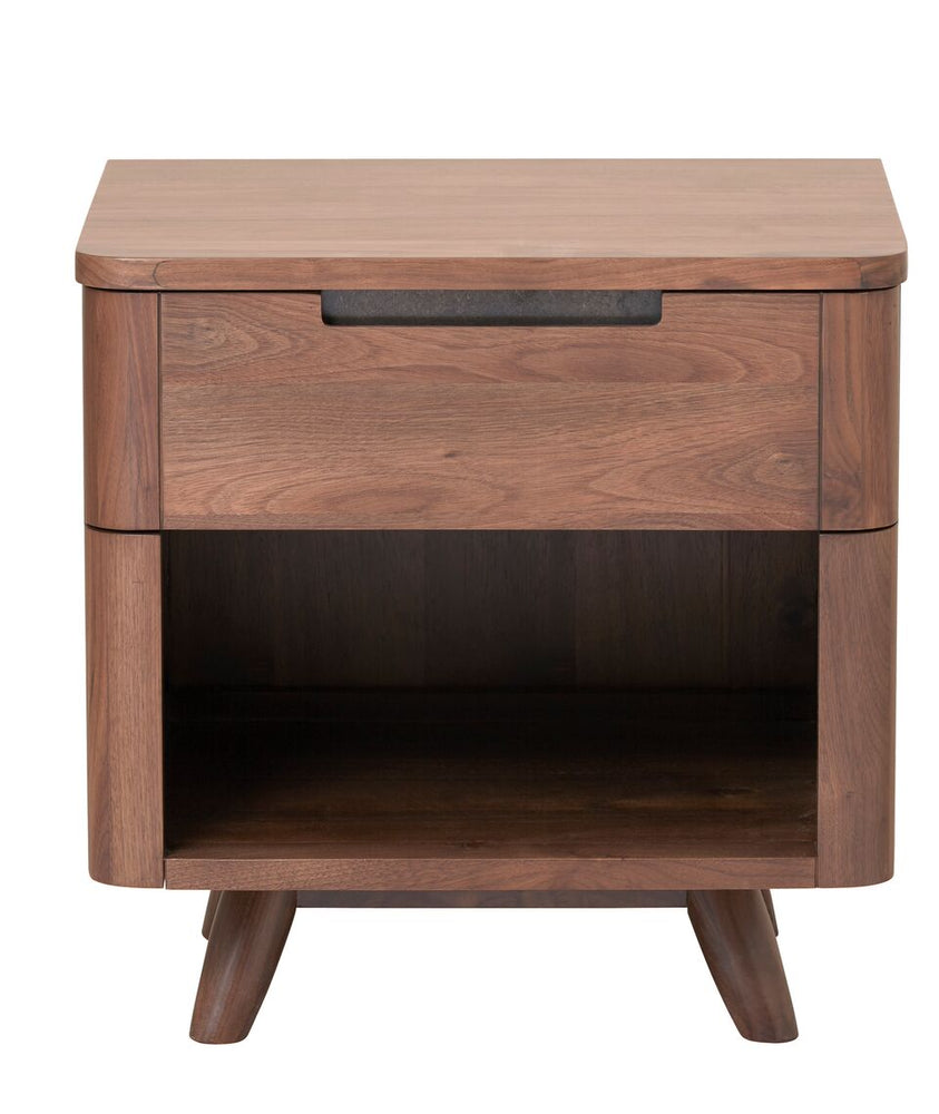 Tahoe MCM Walnut One Drawer Nightstand