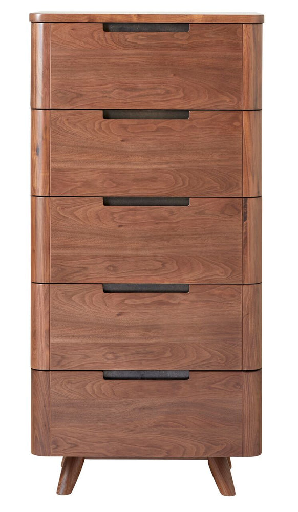 Tahoe MCM Walnut 5 Drawer Lingerie Chest