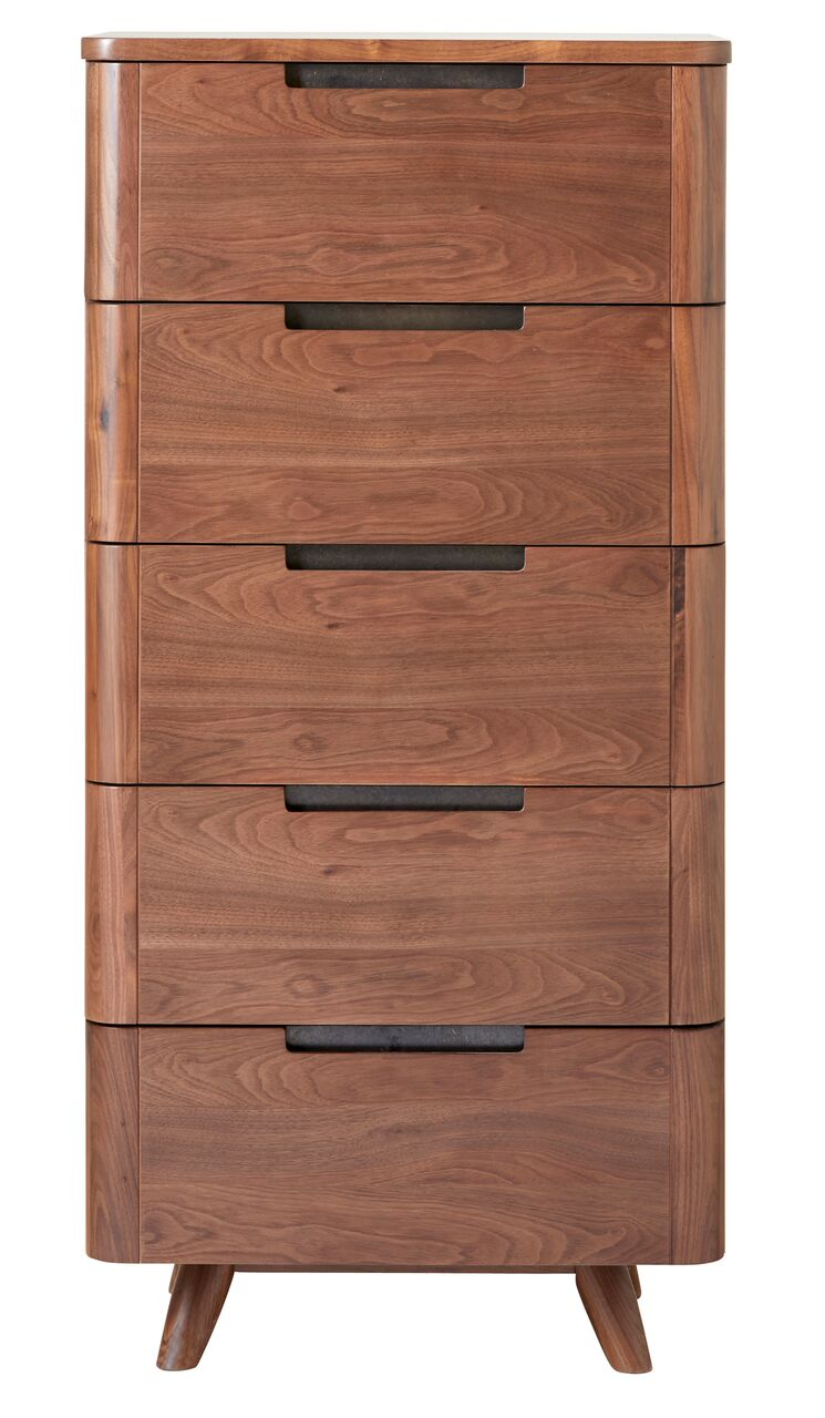 Tahoe Mid Century Modern Walnut 5 Drawer Lingerie Chest