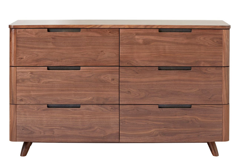 Tahoe Mid Century Modern Walnut 6 Drawer Double Dresser
