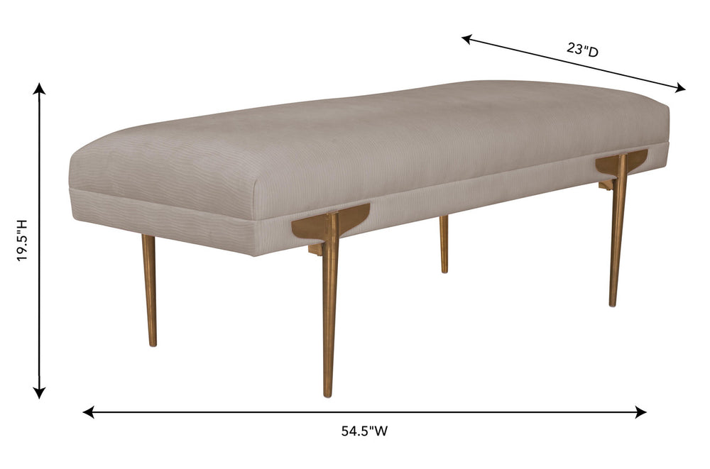 Brno White Waived Velvet Bench - Old Bones Furniture Company