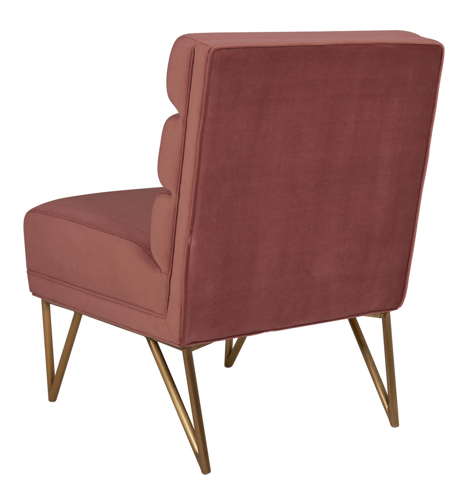 Kelly Salmon Velvet Chair   Lounge Chair TOV Furniture Old Bones Furniture Company https://www.oldbonesco.com/