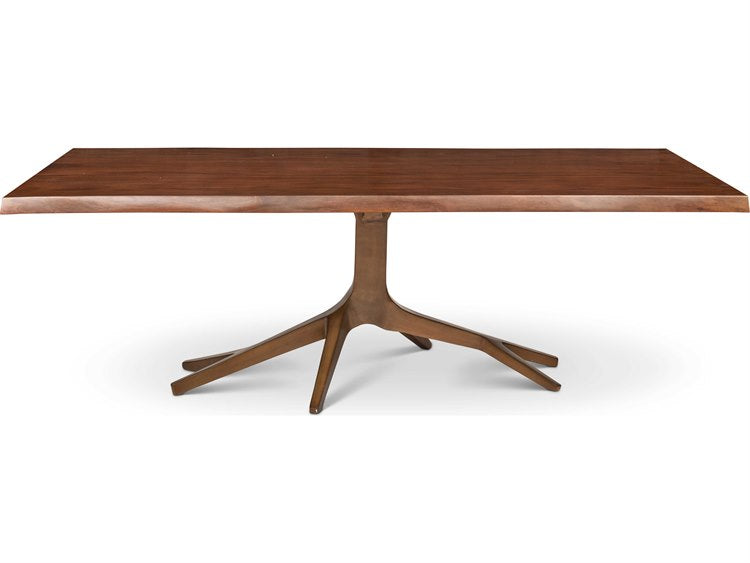 Walnut antique brass dining table