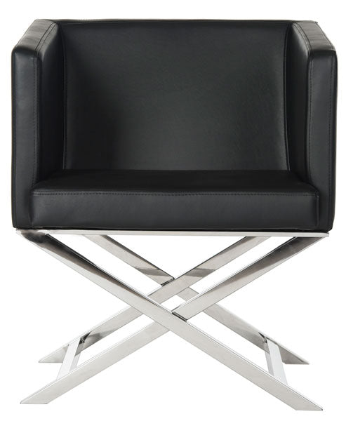 Celine Bonded Leather Chrome Cross Leg Chair
