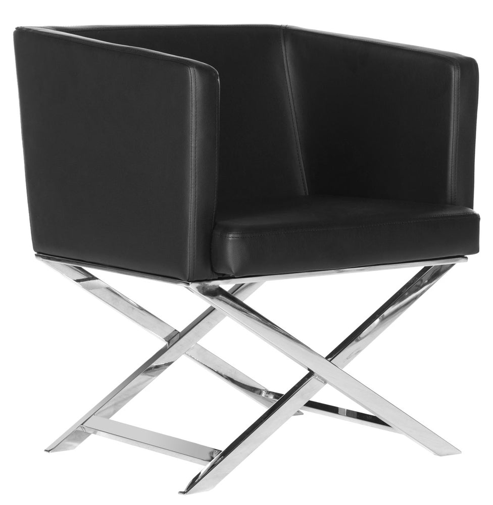 Celine Bonded Leather Chrome Cross Leg Chair   Lounge Chair Safavieh Old Bones Furniture Company https://www.oldbonesco.com/