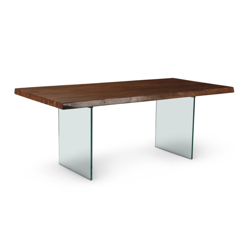 Brooks Dining Table in Americano/Glass Base   Dining Table Urbia Imports, Old Bones Co, Modern Furniture, https://www.oldbonesco.com/