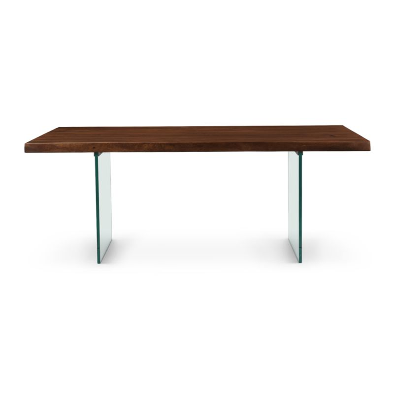 Brooks Dining Table in Americano/Glass Base