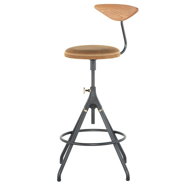 AKRON COUNTER STOOL WITH BACK - UMBER TAN