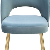 Swell Velvet Chair Sea Blue Sea Blue Dining Chair TOV Furniture Four Hands, Mid Century Modern Furniture, Old Bones Furniture Company, https://www.oldbonesco.com/