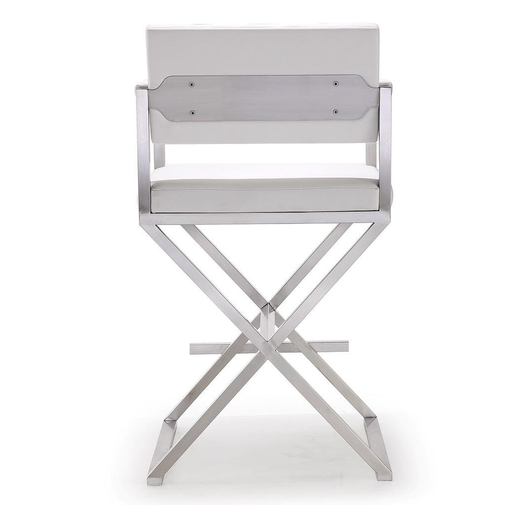 Director White Stainless Steel Counter Stool   Counter Stools TOV Furniture, Old Bones Co  https://www.oldbonesco.com/