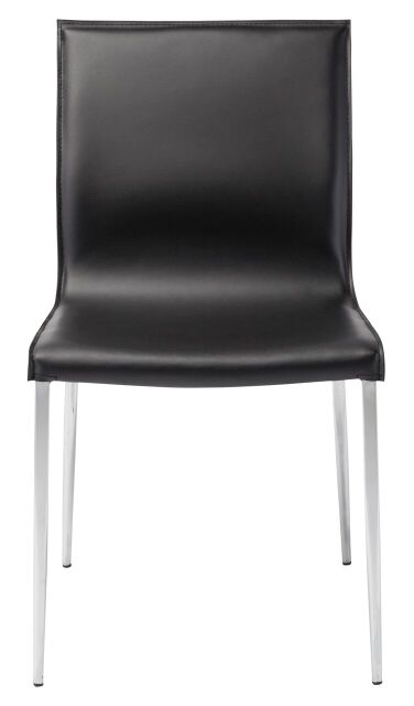 Colter Dining Chair With Chromed Steel Legs Black Black Dining Chair Nuevo Old Bones Furniture Company https://www.oldbonesco.com/