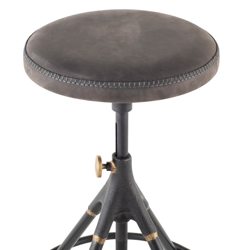 Akron Counter Stool - Storm Black Leather   BAR AND COUNTER STOOL District Eight Old Bones Furniture Company https://www.oldbonesco.com/