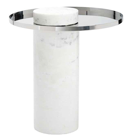 Pillar Marble Side Table - Old Bones Furniture Company