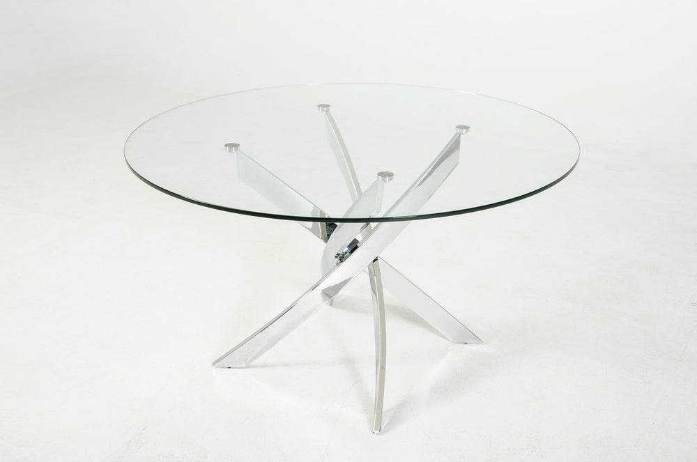 Pyrite Modern Round Glass Dining Table