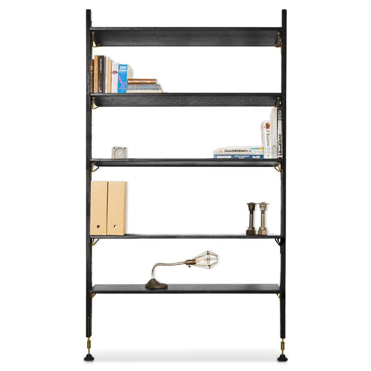 THEO WALL UNIT WITH LARGE SHELVES - BLACK