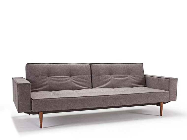 Split Back Sofa w/ Arms, Dark Wood