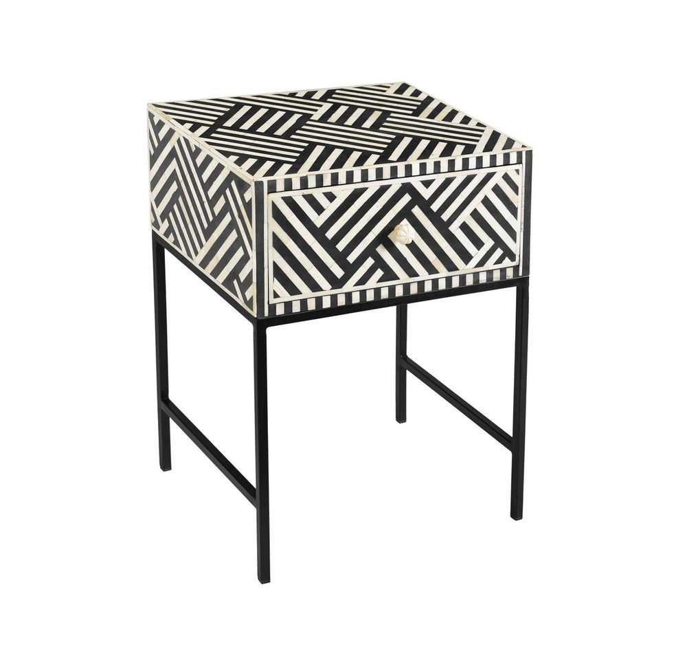 Noire Bone Inlay Side Table