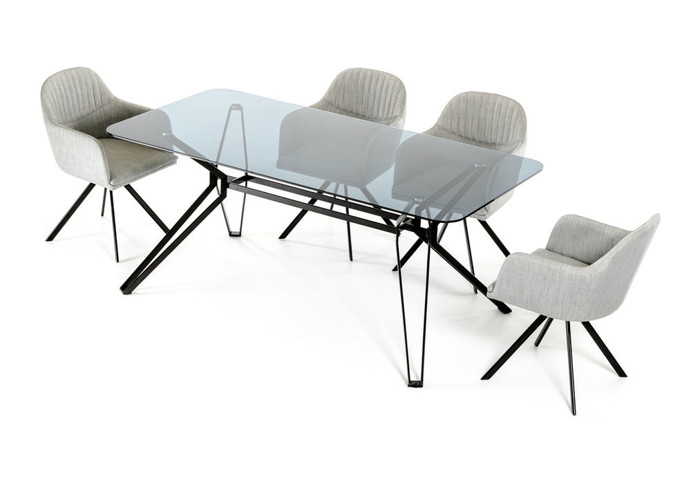 Synergy Modern Smoked Glass Dining Table