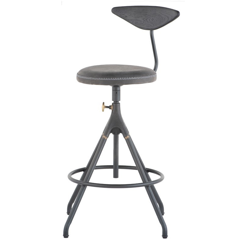 AKRON COUNTER STOOL WITH BACK - STORM BLACK