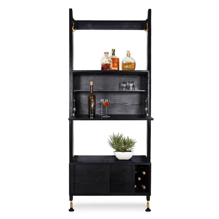 THEO WALL UNIT WITH BAR - BLACK