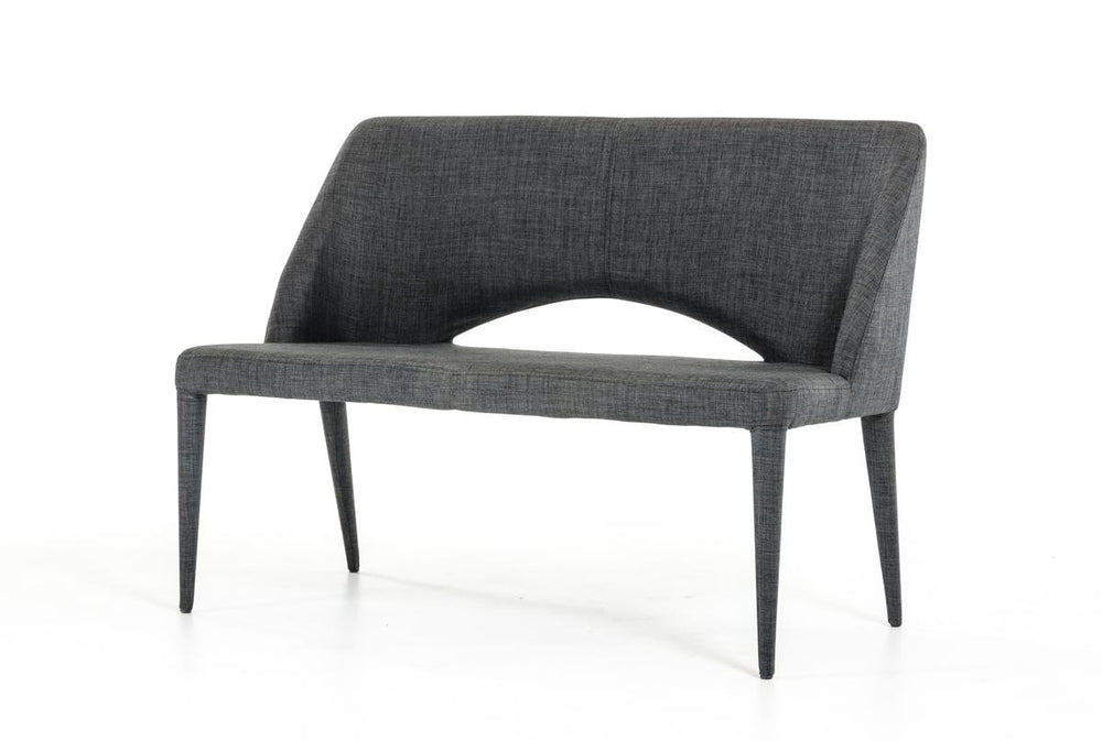 Williamette Dark Grey Fabric Bench   Bench VG Funiture Old Bones Furniture Company https://www.oldbonesco.com/