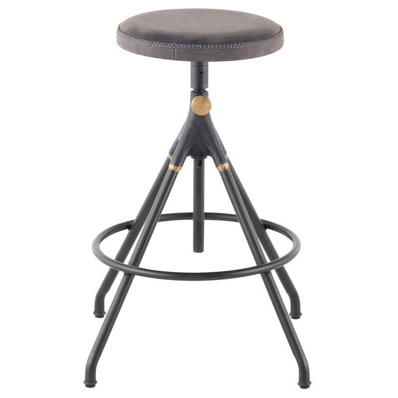 Akron Counter Stool - Storm Black Leather   BAR AND COUNTER STOOL District Eight, Old Bones Co  https://www.oldbonesco.com/