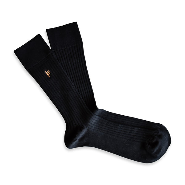 RIB SOCKS LUXURY BLACK