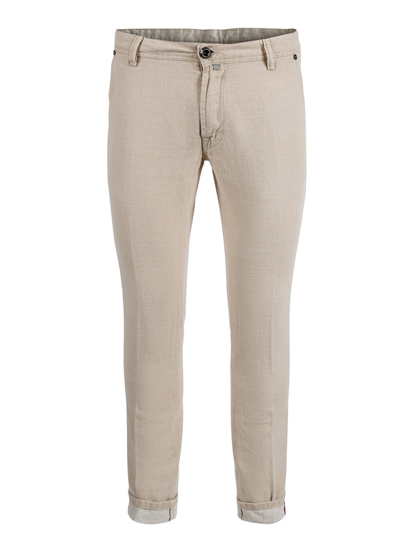 Cremé White Textured Cotton Trousers
