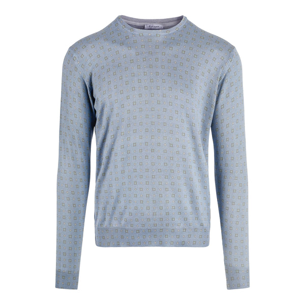 Blue Flower Print Cotton Sweater