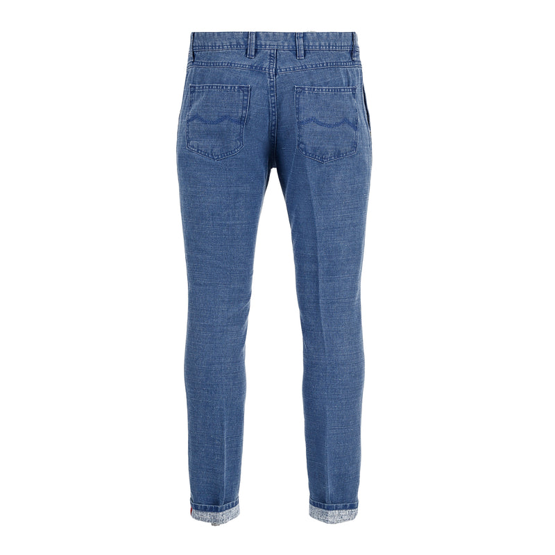 Denim Blue Textured Pants