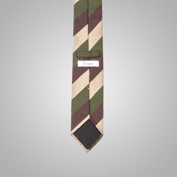 White Green &Brown Striped Shantung Tie