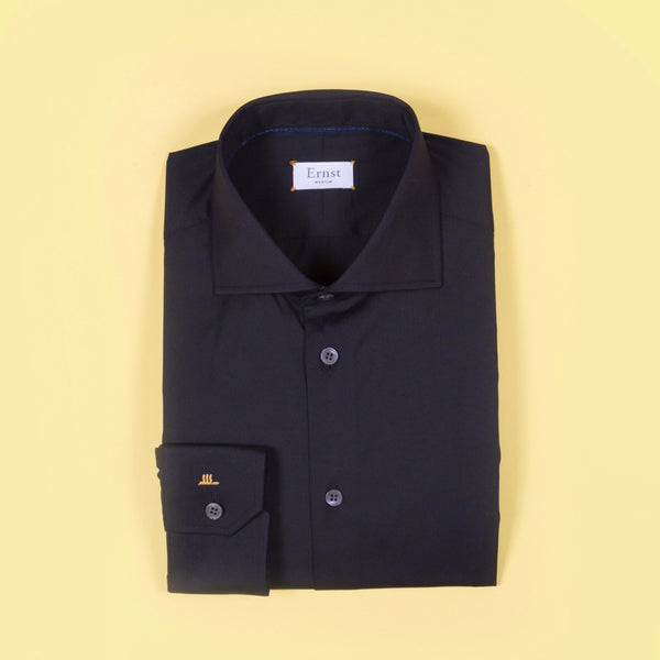Black Stretch Cotton Shirt