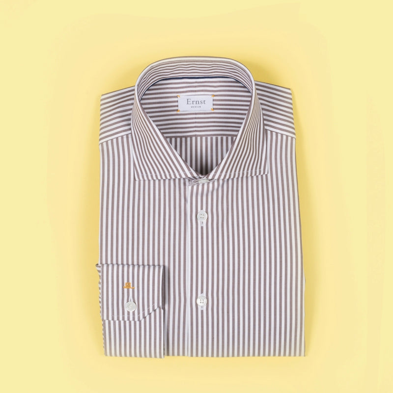 Brown & White Striped cotton Shirt