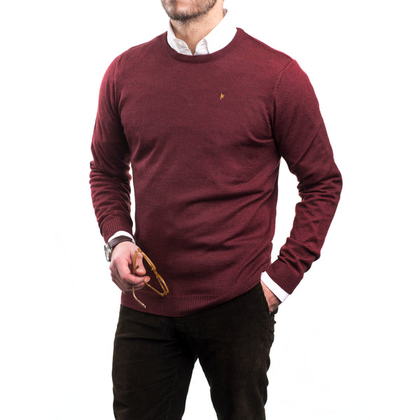 Burgundy Merino Crew Neck Sweater