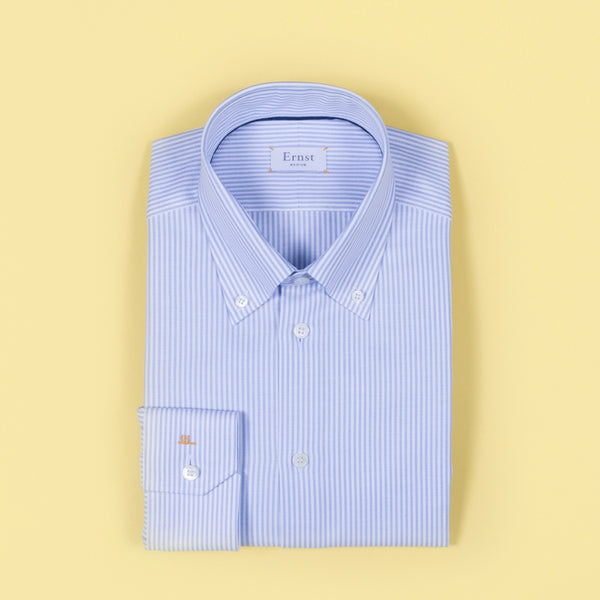 Classic White & Blue Striped Oxford Cotton Shirt