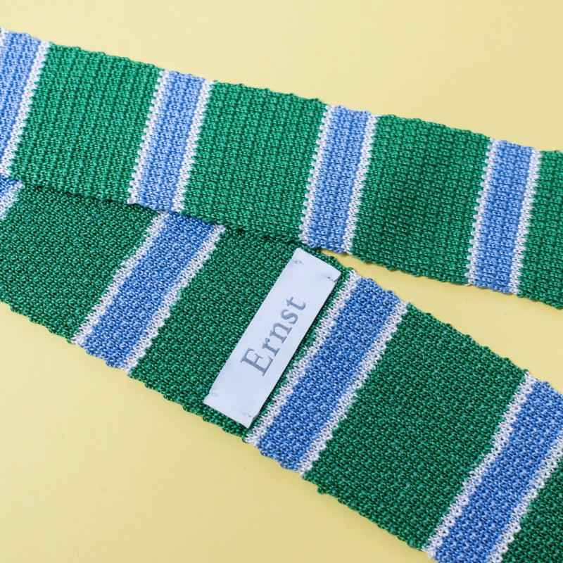 Knitted Green Silk & Linen Tie