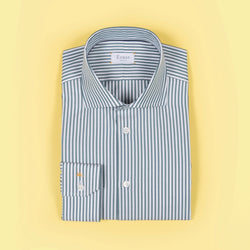 Green & White Striped Cotton Shirt