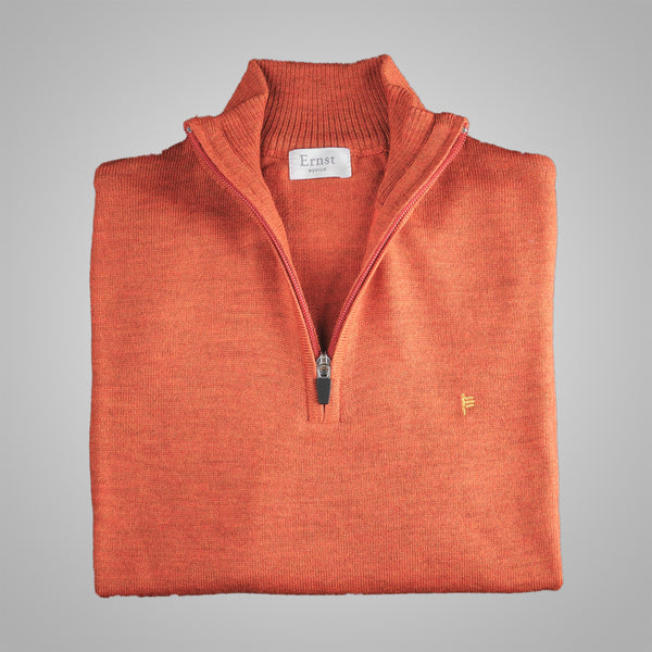 Brunt Orange Merino Zip