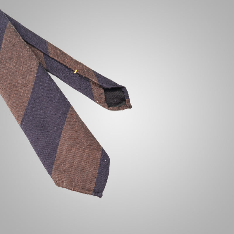 Navy & Brown Striped Shantung Tie