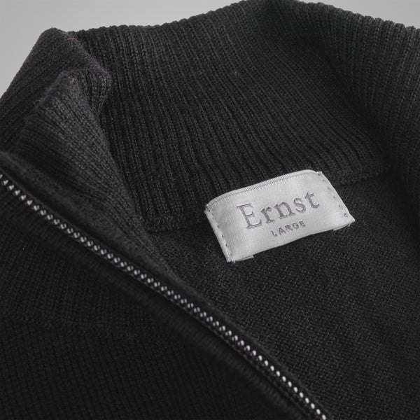 Black Merino Zip