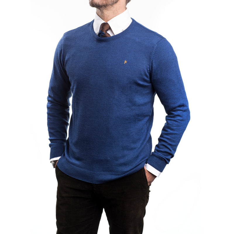 Indigo Merino Crew Neck Sweater