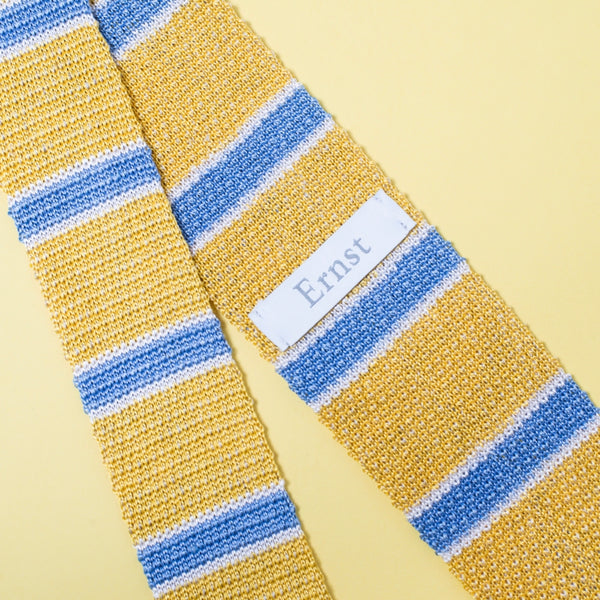 Yellow Knitted Silk & Linen Tie