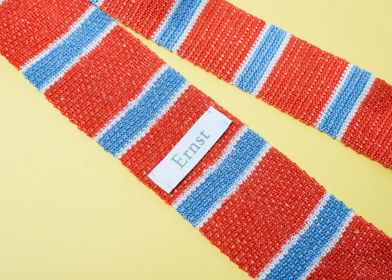Orange Red Knitted Silk & Linen Tie
