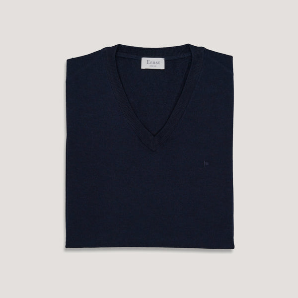 Navy Blue V-Neck Wool Sweater