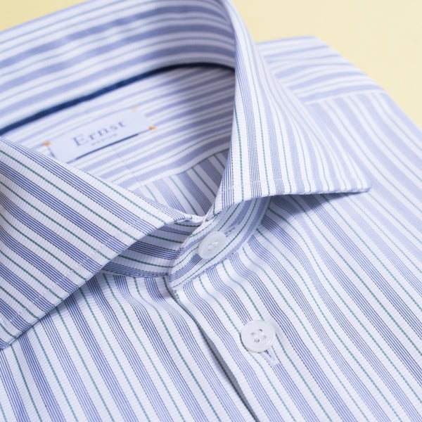 White, Blue & Green striped cotton Shirt