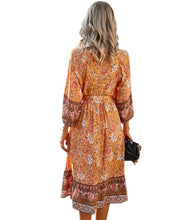 Load image into Gallery viewer, Summer Orange Midi Dress