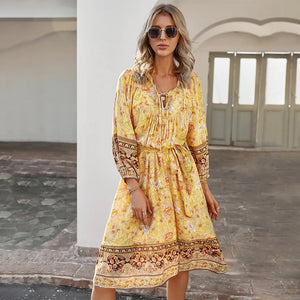 Summer Yellow Midi Dress