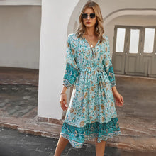Load image into Gallery viewer, Summer Blue Midi Dress