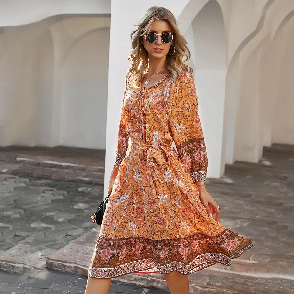 Summer Orange Midi Dress