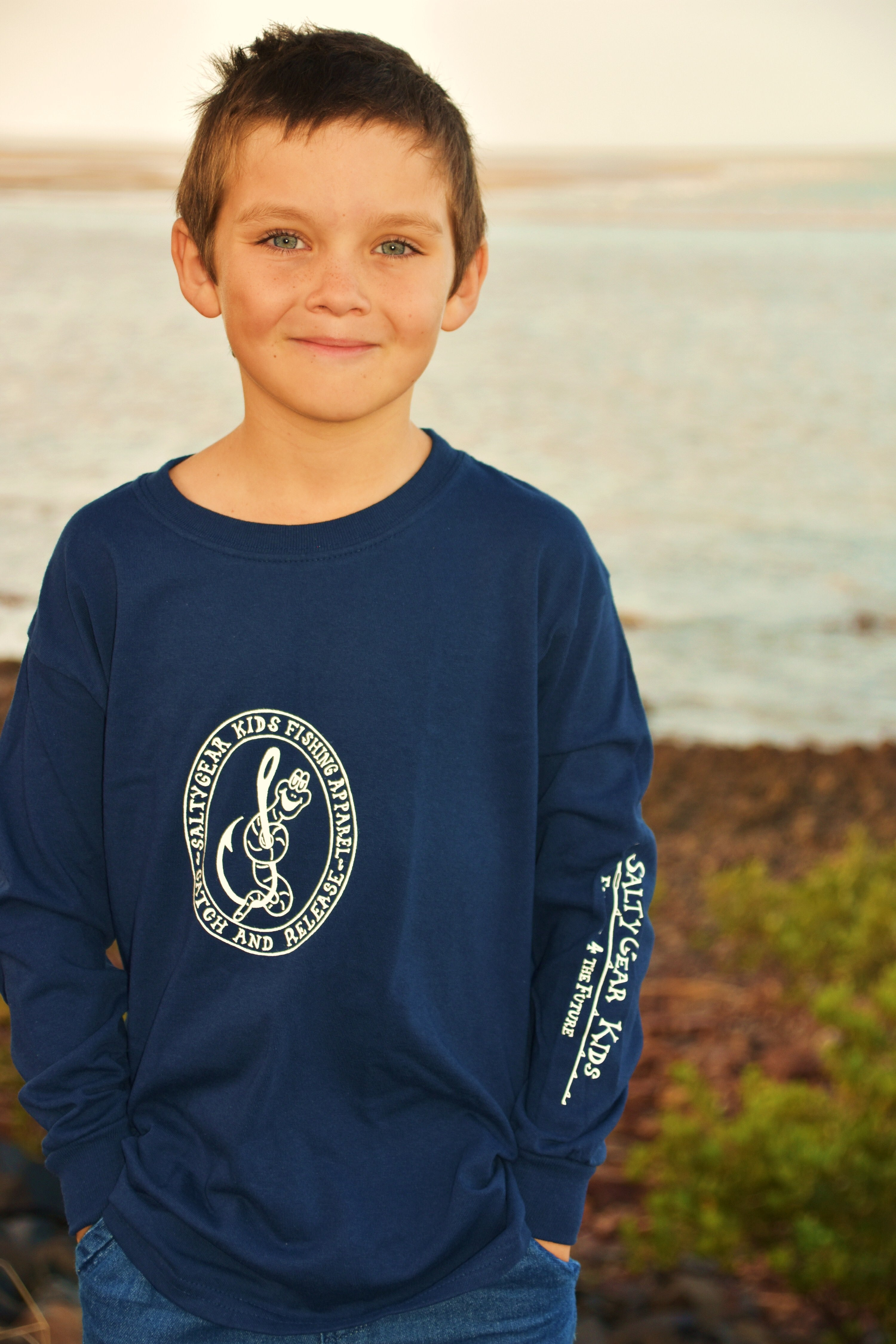 WORM ON HOOK Long Sleeve Cotton Tee YOUTH